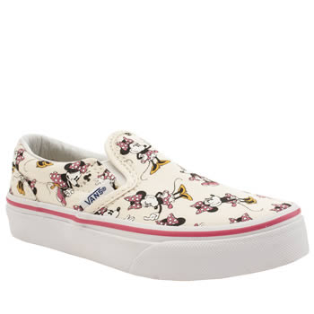Vans White & Pink Disney Minnie Mouse Slip On Girls Junior