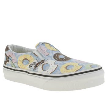 VANS PALE BLUE CLASSIC SLIP-ON LATE NIGHT GIRLS JUNIOR TRAINERS