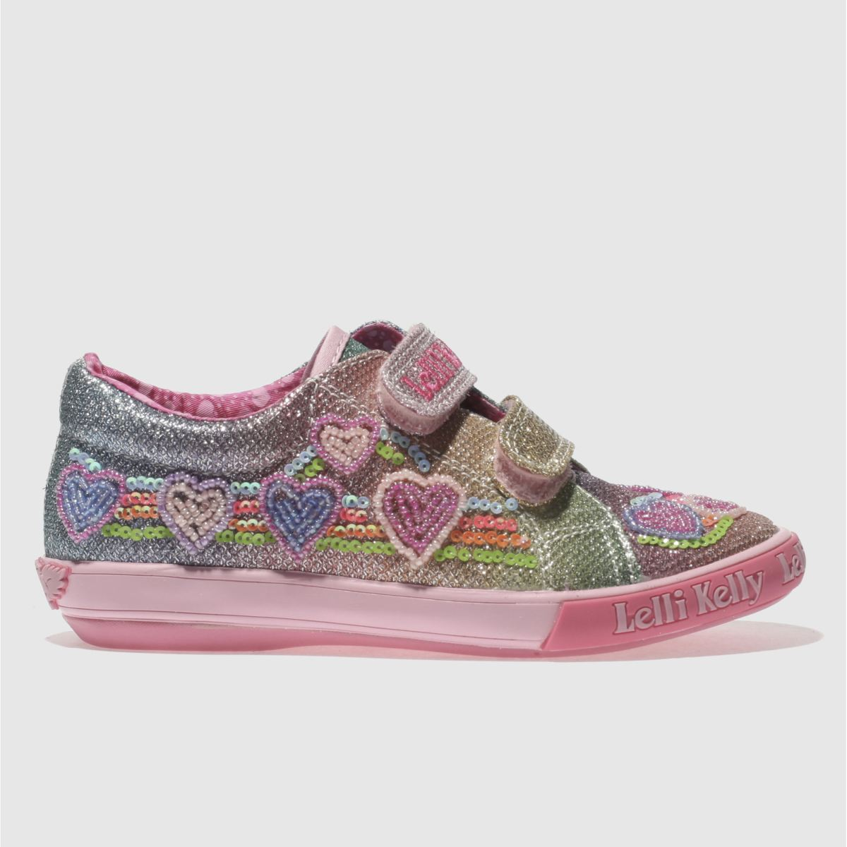 Lelli Kelly Lelli Kelly  Pink & Blue Rainbow Hearts Girls Junior Trainers