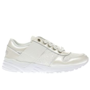 LELLI KELLY  WHITE GLITTER SNEAKER GIRLS JUNIOR TRAINERS