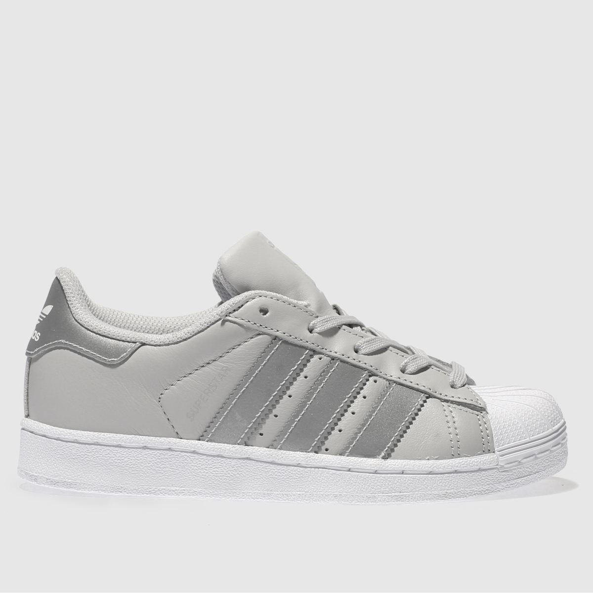 Adidas Light Grey Superstar Trainers Junior