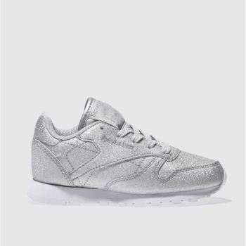 REEBOK SILVER CLASSIC LEATHER GIRLS JUNIOR TRAINERS