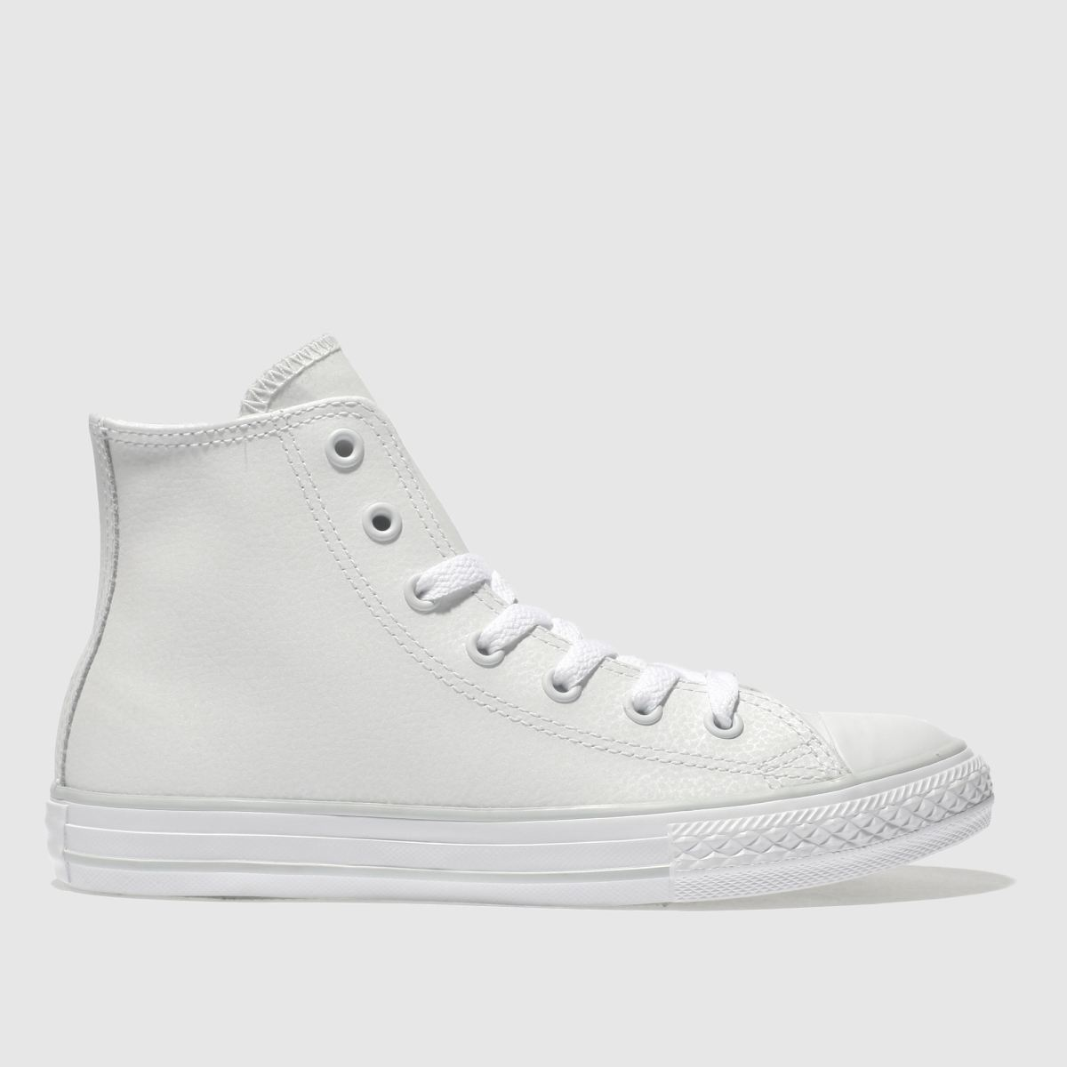 Converse White All Star Hi Leather Girls Junior Trainers