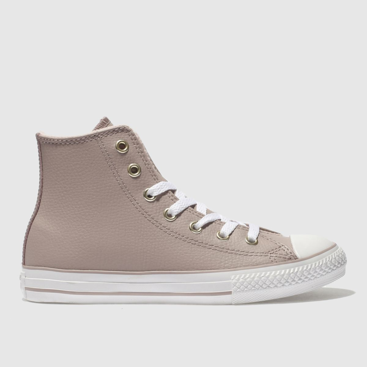 Converse Pale Pink All Star Hi Leather Trainers Junior