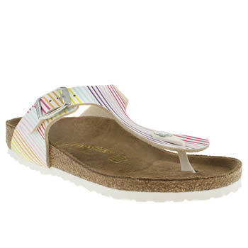 Birkenstock White & Pink Gizeh Girls Junior