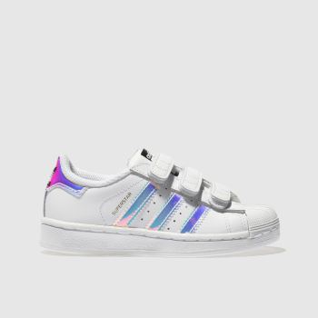 ADIDAS WHITE & SILVER SUPERSTAR GIRLS JUNIOR TRAINERS