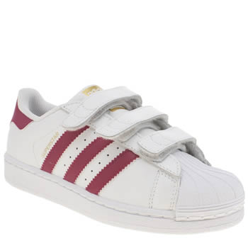 Girls Adidas White & Pink Superstar Foundation Girls Junior