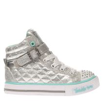 Skechers Silver Twinkle Toe Sweetheart Sole Girls Junior