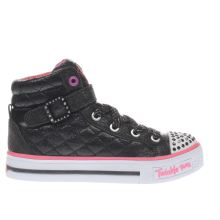 Skechers Black & pink Twinkle Toes Sweetheart Sole Girls Junior