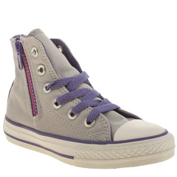 Converse Light Grey All Star Side Zip Hi Girls Junior