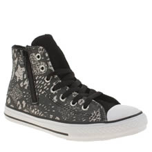 Converse Black & Silver All Star Animal Side Zip Girls Junior
