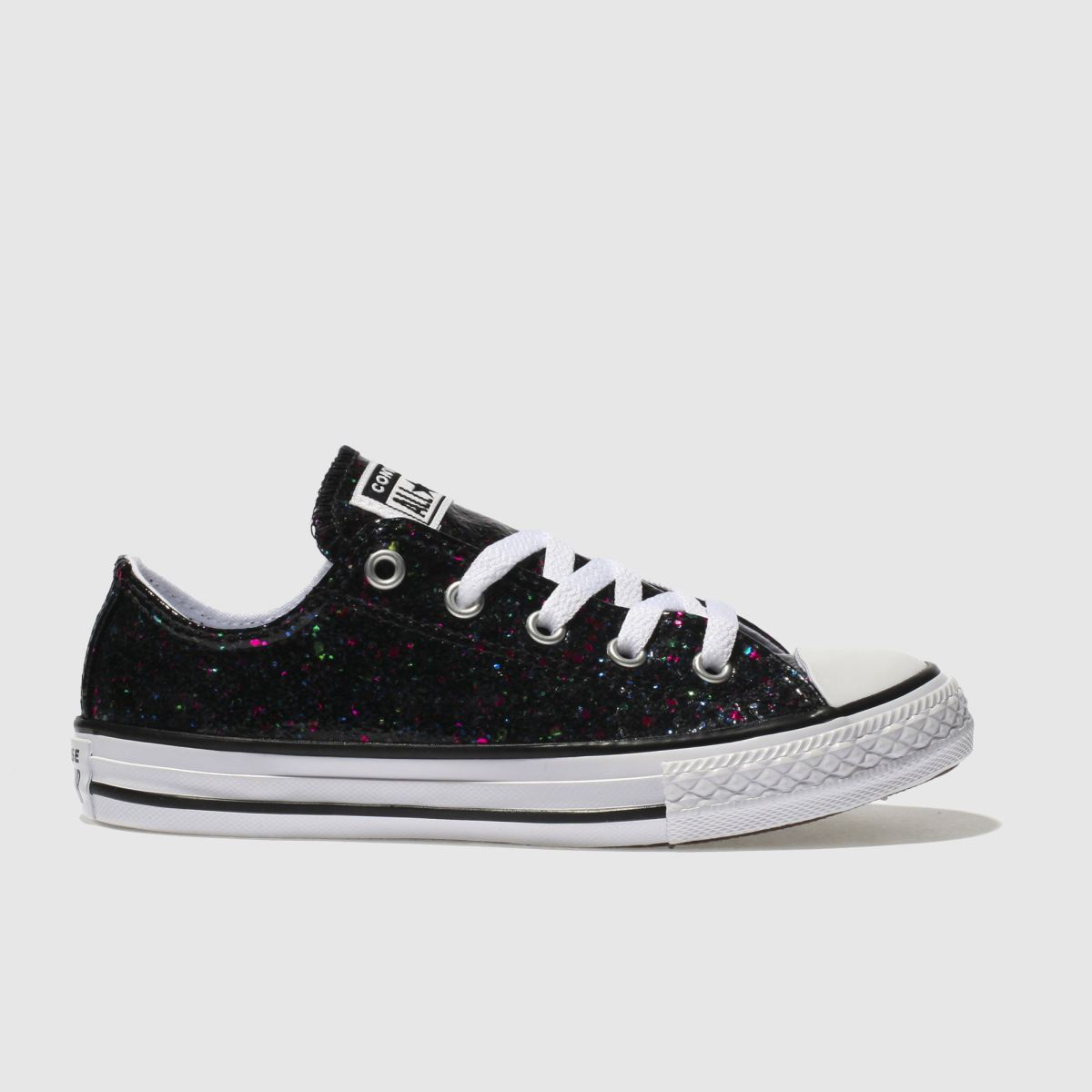 Converse Black All Star Lo Glitter Trainers Junior