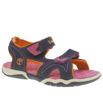TIMBERLAND NAVY & ORANGE ADVENTURE SEEKER GIRLS JUNIOR SANDALS