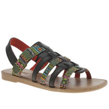 Toms Black & Green Huarache Sandal Girls Junior