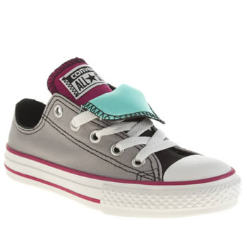 Girls Converse Light Grey All Star Double Tongue Girls Junior