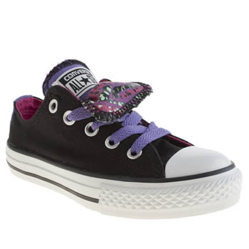 kids converse black & pink all star double tongue trainers