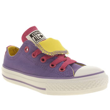 Girls Converse Purple All Star Double Tongue Girls Junior