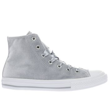 Converse Silver All Star Velvet Hi Girls Youth