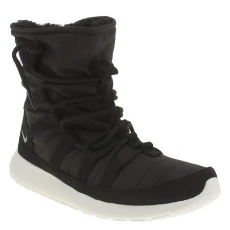 dhvii Girls Black & White Nike Roshe One Hi Flash Youth Trainers