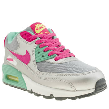 Girls Nike Silver Air Max 90 2007 Girls Youth