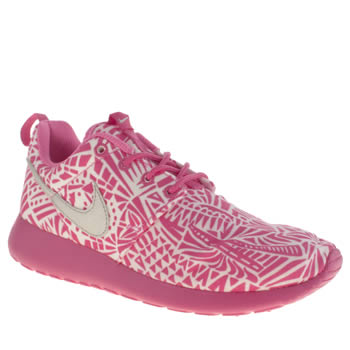 Girls Nike White & Pink Roshe Run Print Girls Youth
