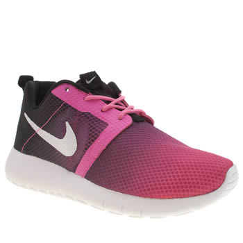 Nike Black & pink Roshe Run Flight Weight Girls Youth