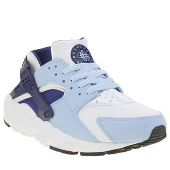 Nike White & Pl Blue Huarache Run Girls Youth