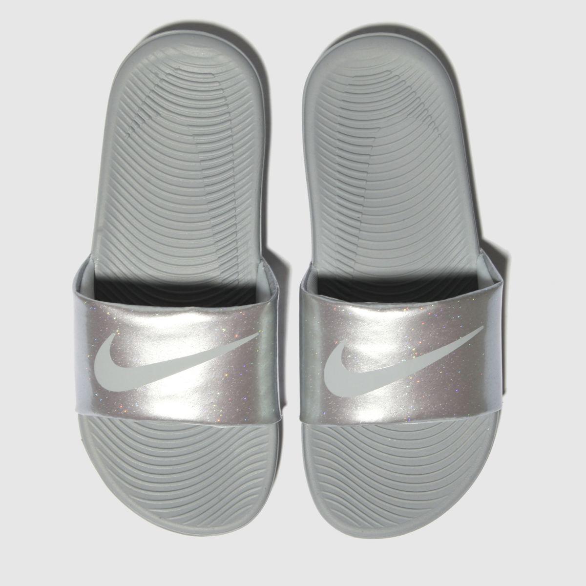 Nike Silver Kawa Slide Trainers Youth