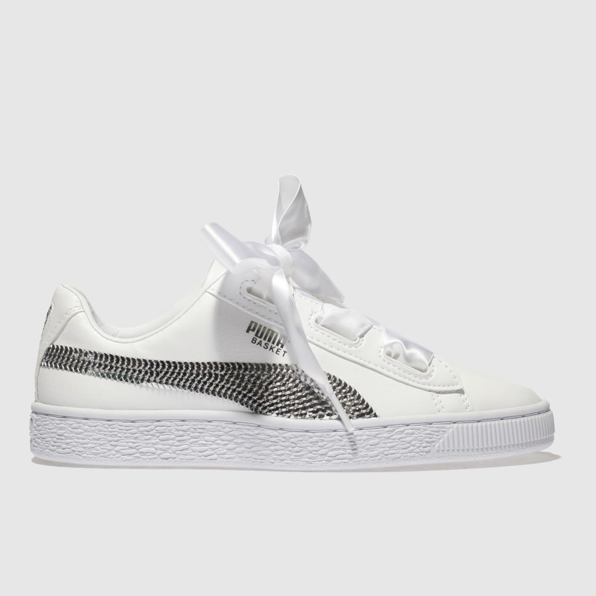 Puma White & Silver Basket Heart Bling Girls Youth Youth