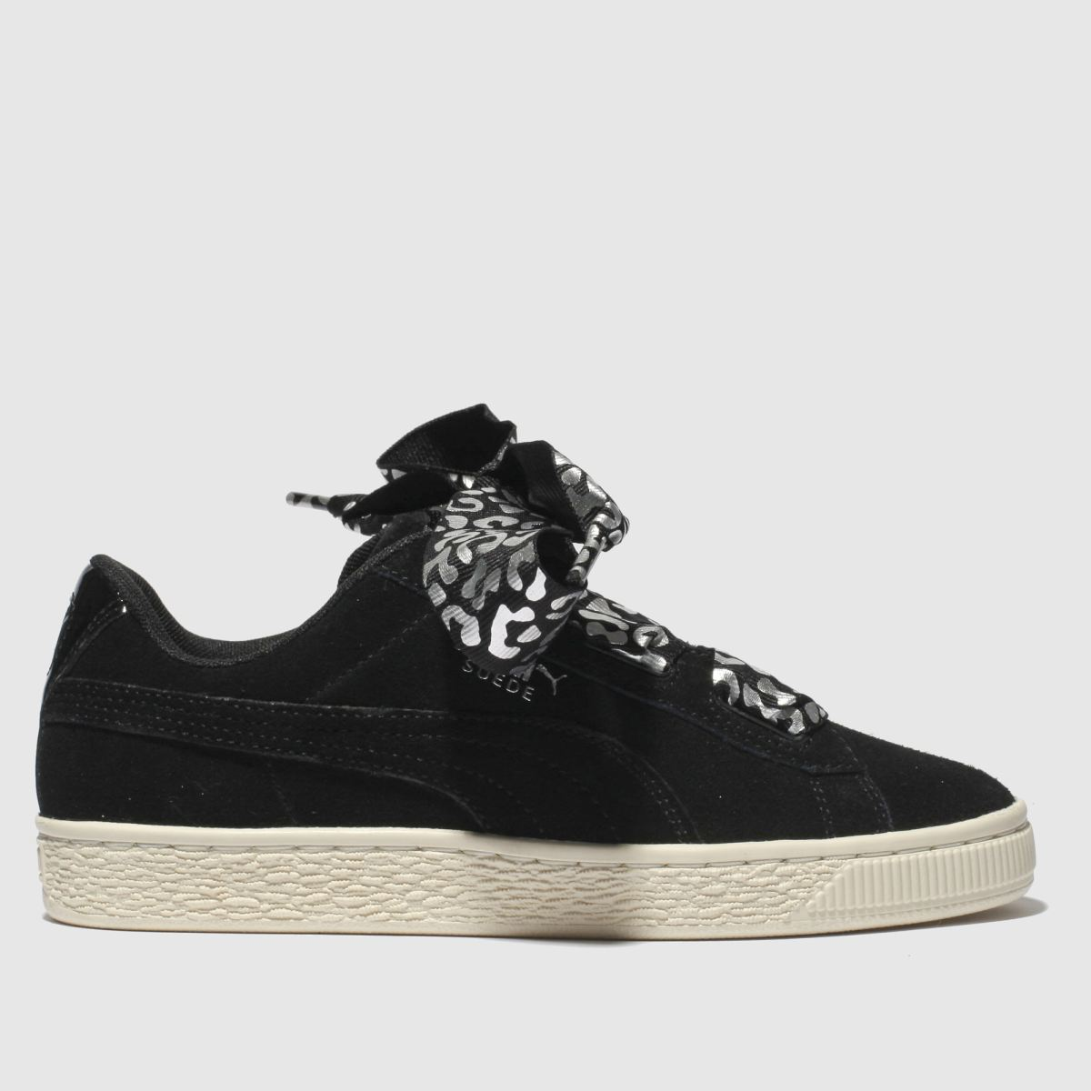Puma Black & Silver Suede Heart Athluxe Trainers Youth