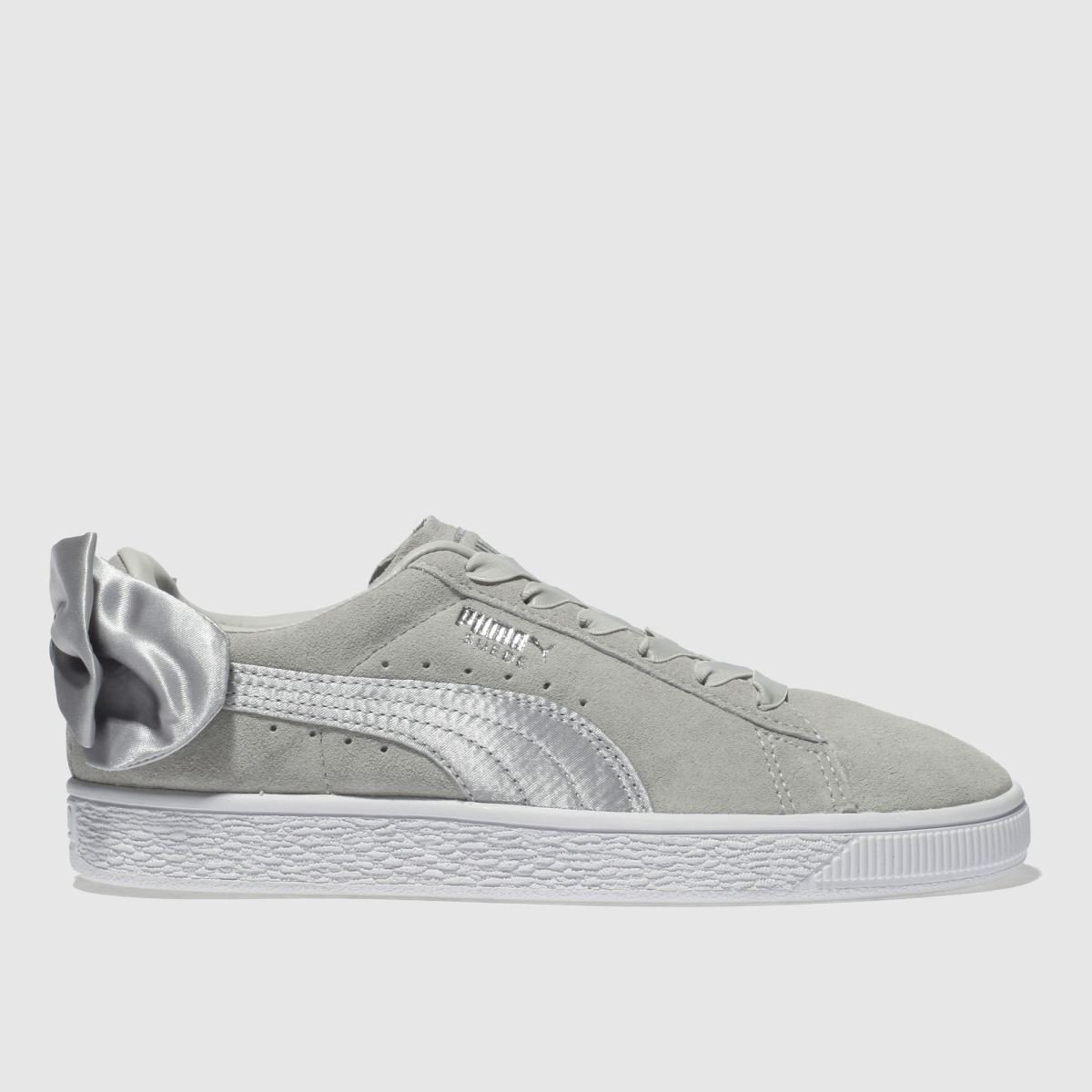 Puma Light Grey Suede Bow Trainers Youth