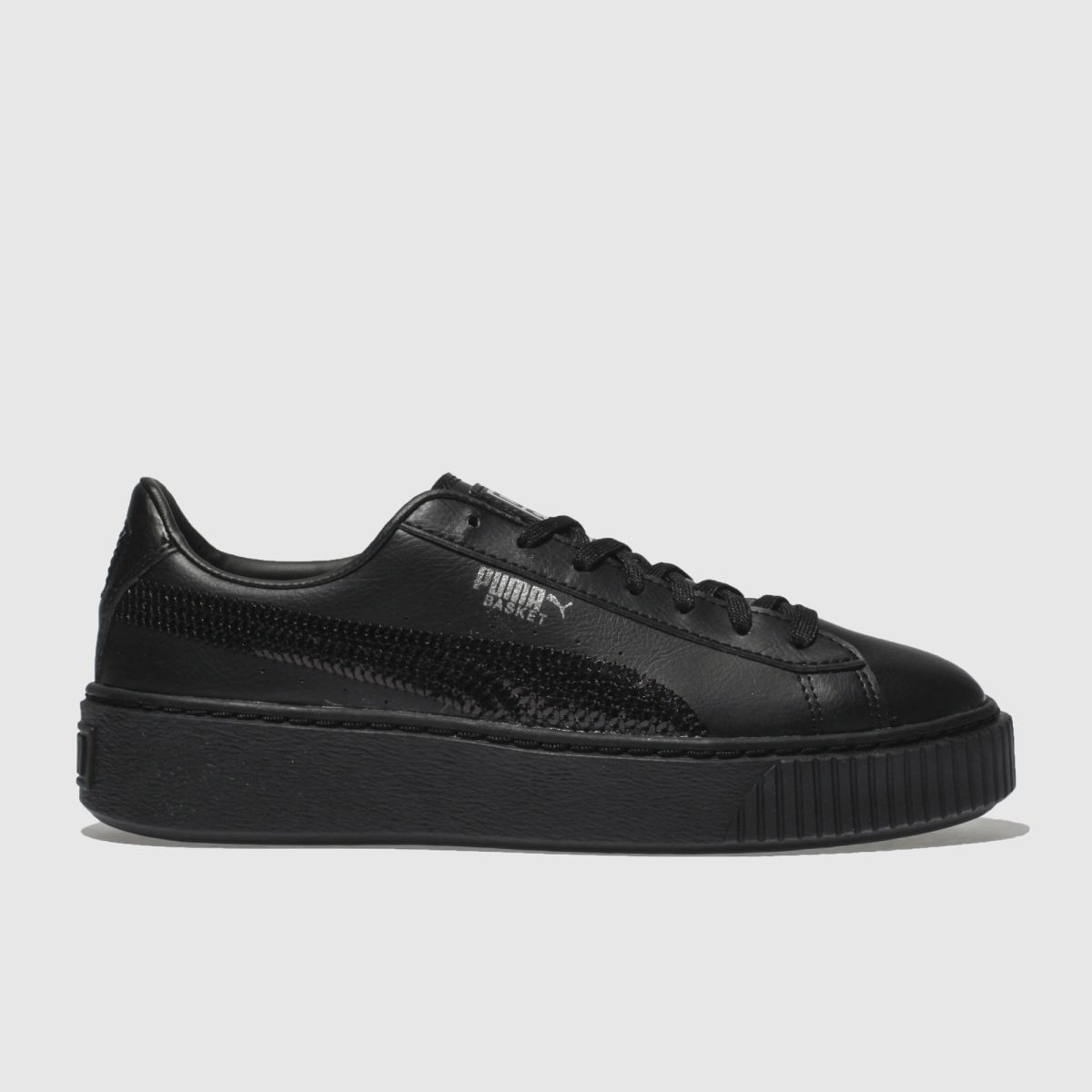 Puma Black Basket Platform Bling Girls Youth Youth