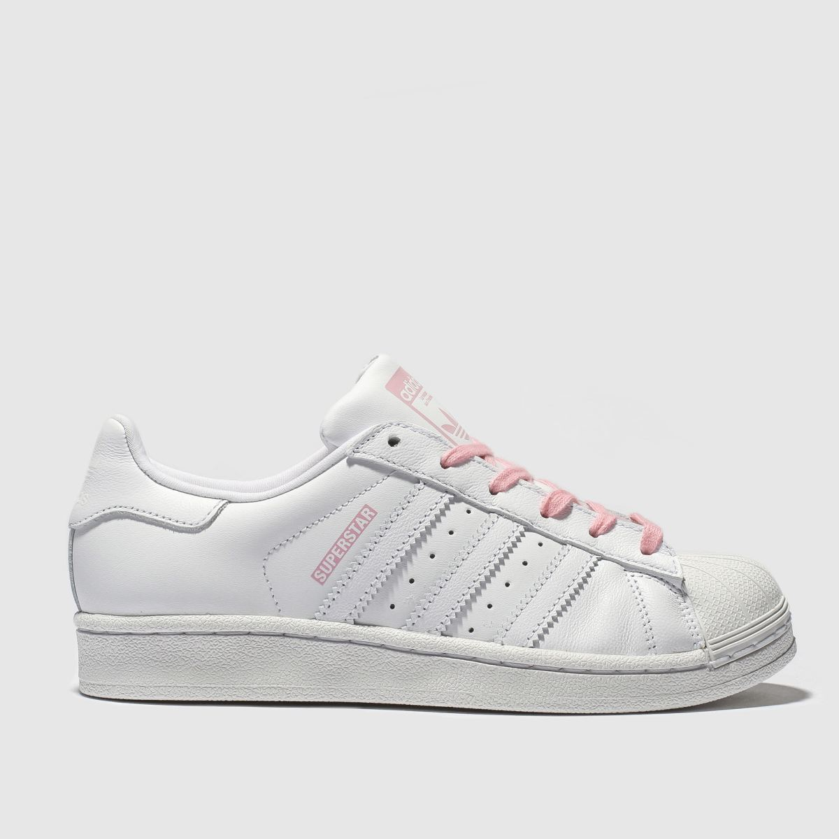 Adidas White & Pink Superstar Trainers Youth