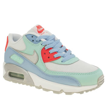 Nike White & Pl Blue Air Max 90 Mesh Girls Youth