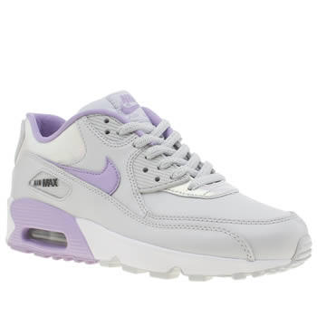 Nike Light Grey Air Max 90 Leather Girls Youth