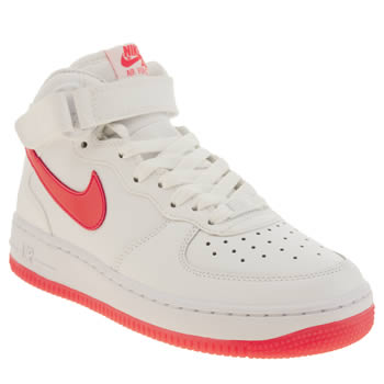 Girls Nike White & Pink Air Force 1 Mid Girls Youth
