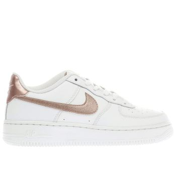 Nike White & Rose Gold AIR FORCE 1 Girls Youth