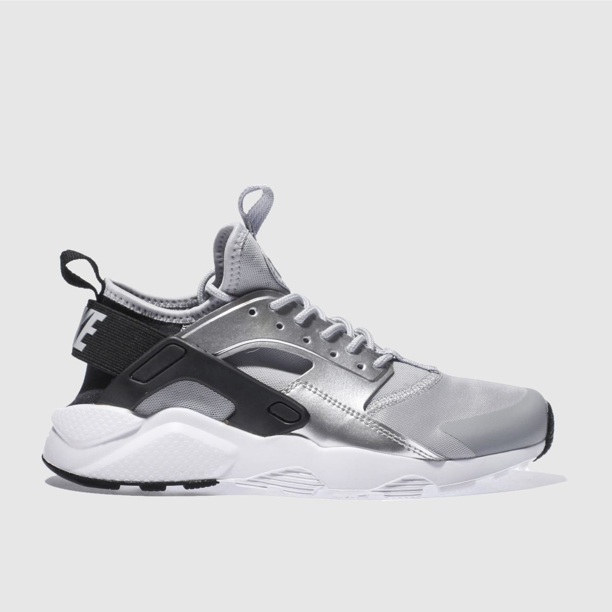 nike silver & black huarache run ultra Girls Youth Trainers