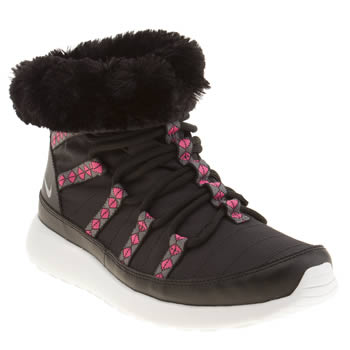 Nike Black & pink Roshe Run Sneakerboot Girls Youth