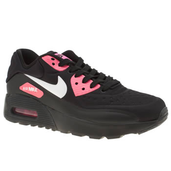 NIKE BLACK & PINK AIR MAX 90 ULTRA SE GIRLS YOUTH TRAINERS