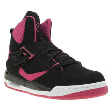 NIKE JORDAN  BLACK & PINK FLIGHT 45 HIGH GIRLS YOUTH TRAINERS