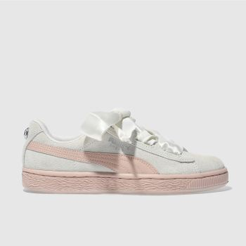 Puma White Suede Heart Jewel Girls Youth