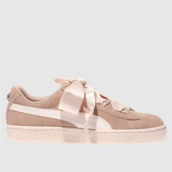 Puma Pink Suede Heart Jewel Girls Youth