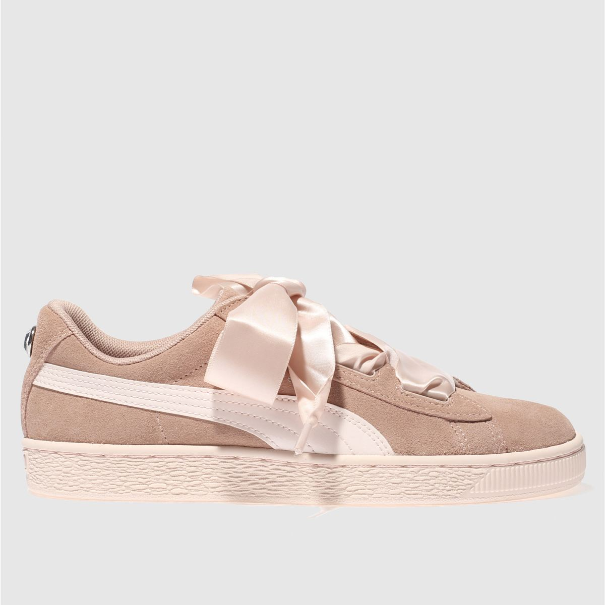 Puma Pink Suede Heart Jewel Girls Youth Trainers
