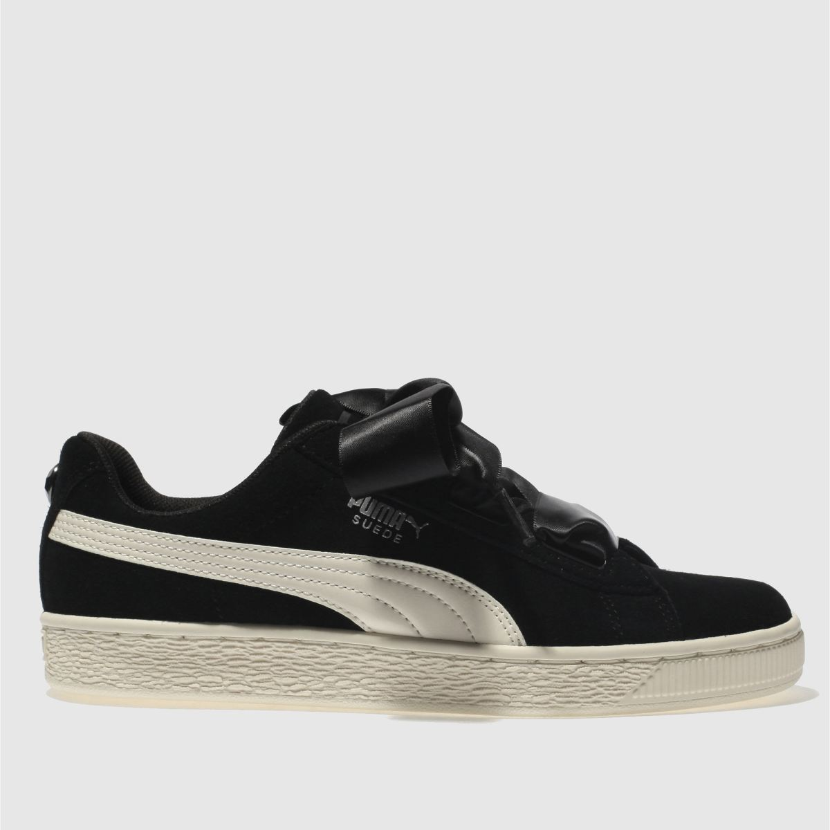 Puma Black & White Suede Heart Jewel Girls Youth Trainers