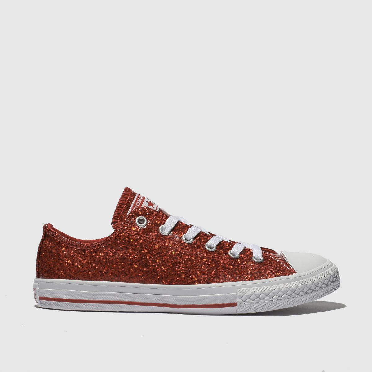 Converse Red All Star Ox Glitter Trainers Youth