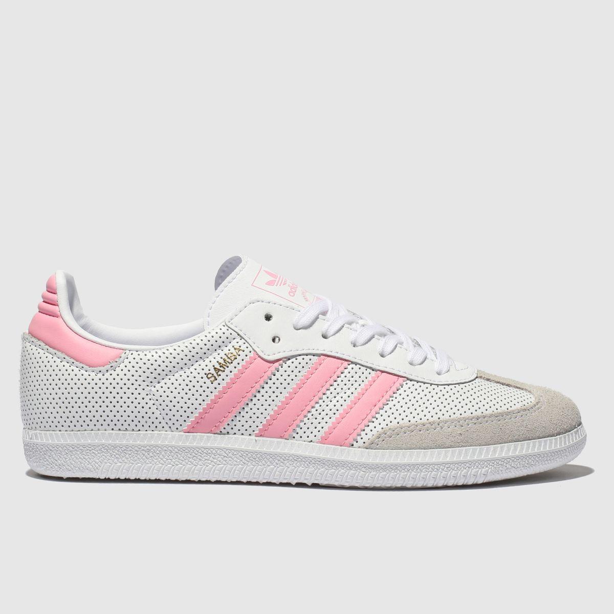 Adidas White & Pink Samba Trainers Youth