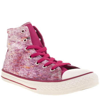 Girls Converse White & Pink All Star Hi Print Girls Youth