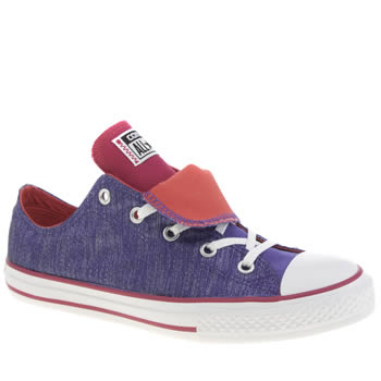 Girls Converse Purple All Star Shine Double Tongue Girls Youth