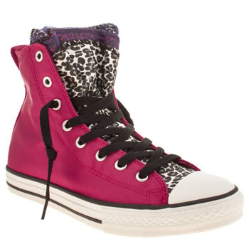 Girls Converse Pink & Black Party Hi Girls Youth
